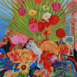 Evening Palm and Zinnias - Sandra Caplan