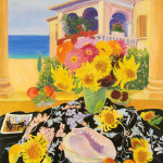 Sunflowers, Zinnias and Sea - Sandra Caplan